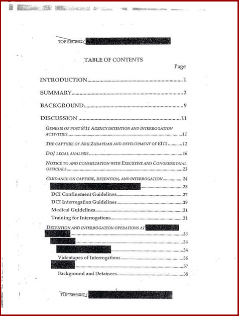 Torture report obama table of contents p1