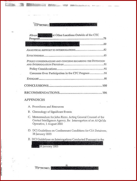 Torture report obama table of contents p3